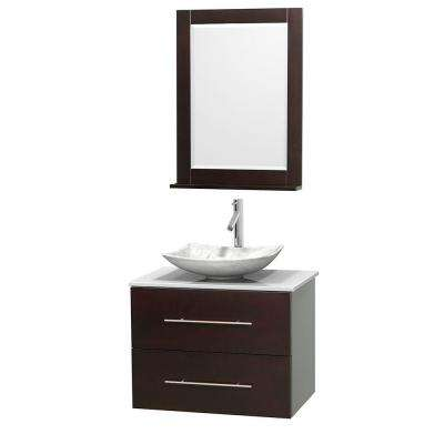 Centra 30 in. Vanity in Espresso with Solid-Surface Vanity Top in White, Carrara Marble Sink and 24 in. Mirror