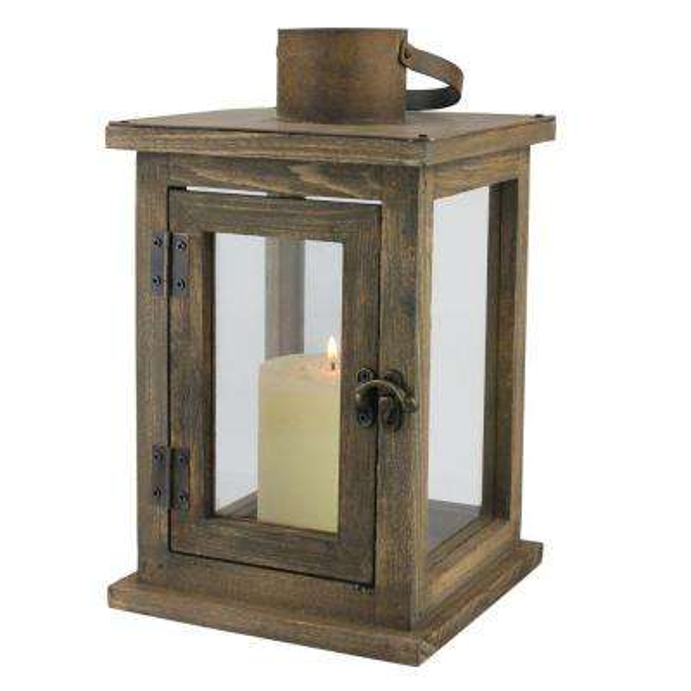 11 in. H Rustic Wood Lantern