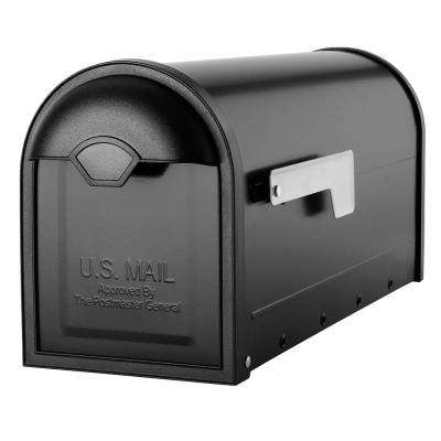 Winston Black with Nickel Flag Post Mount Mailbox