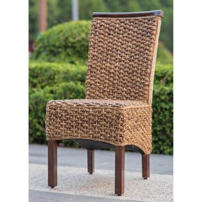 Bunga Hyacinth Salak Brown Weave Dining Chairs with Mahogany Hardwood Frame (Set of 2)