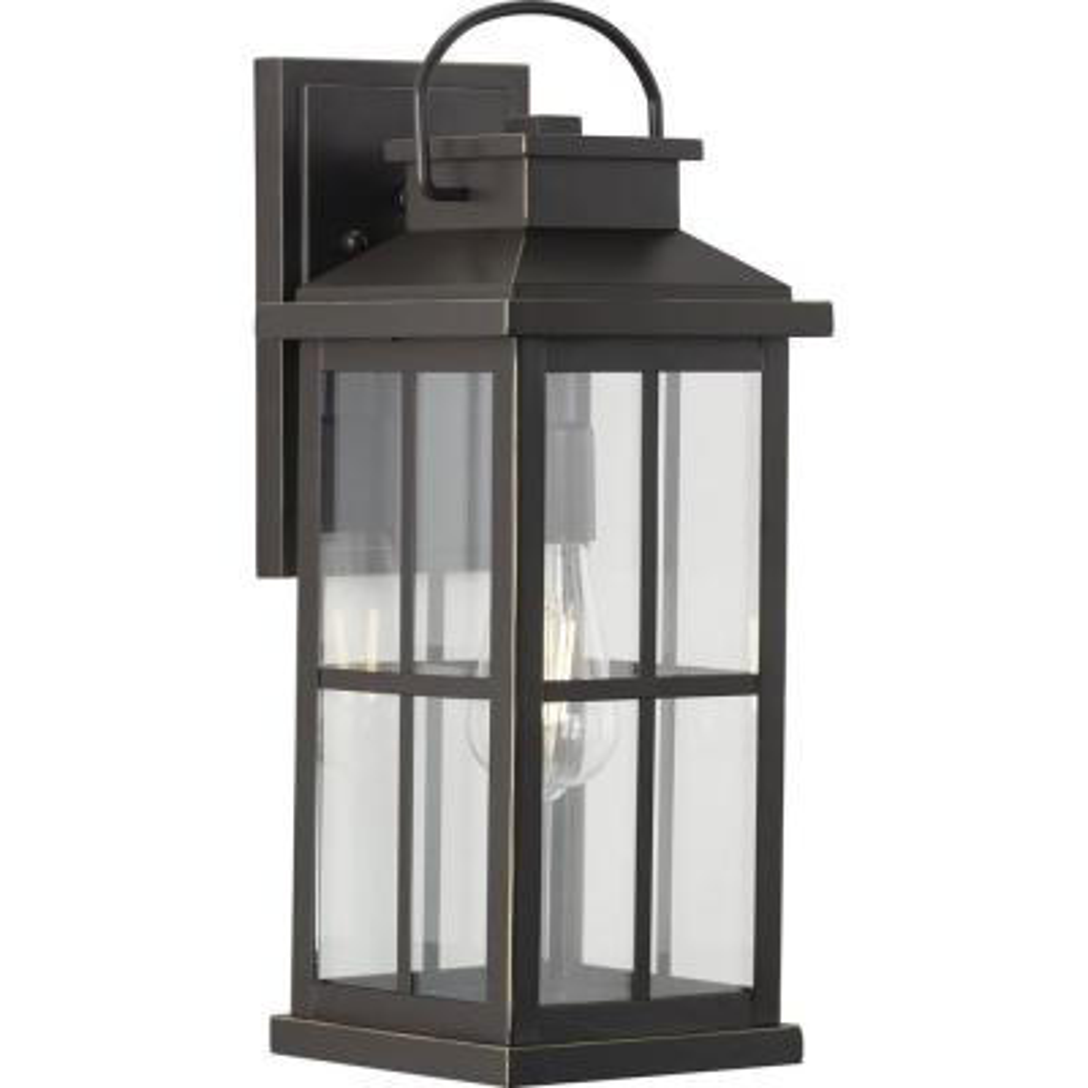 Progress Lighting Williamston 1-Light Antique Bronze Clear Glass Farmhouse Outdoor Large Wall Lantern Light