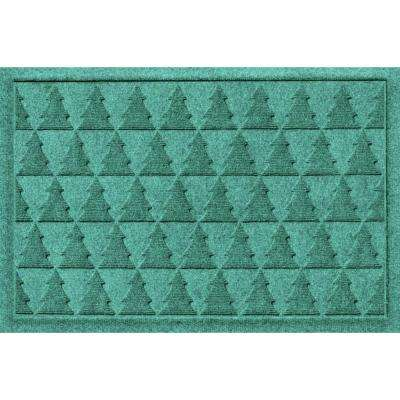 Aqua Shield Pine Trees Aquamarine 17.5 in. x 26.5 in. Pet Mat