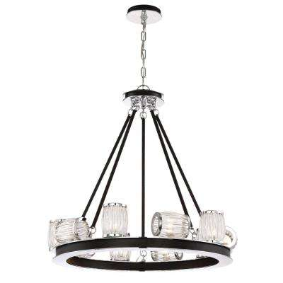 Barile Collection 10-Light Polished Chrome Chandelier with Glass Shade