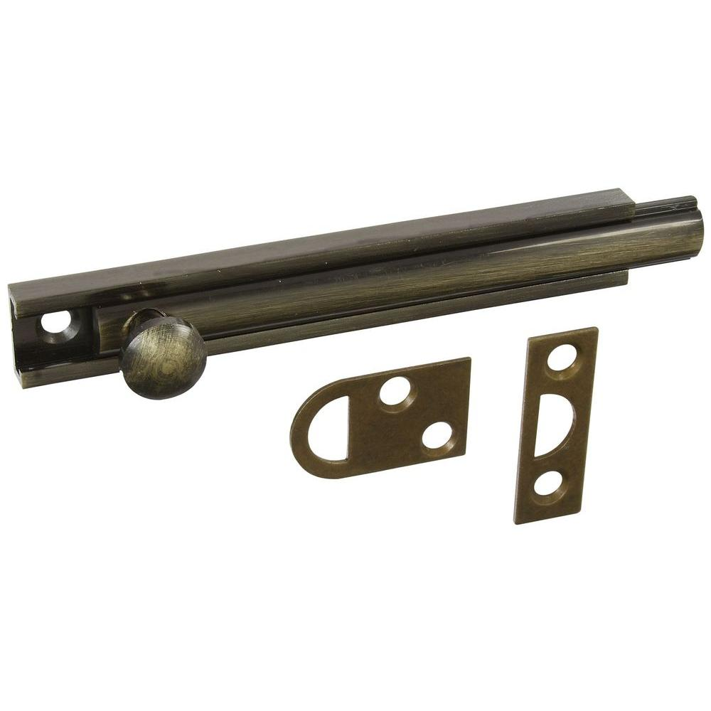 National Hardware 4 in. Antique Brass Surface Bolt-DISCONTINUED
