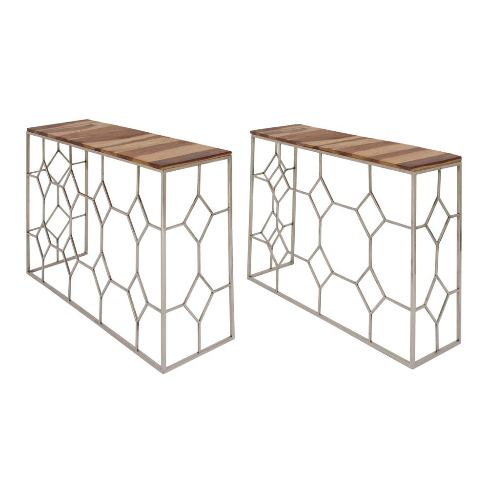 Null Modern Stainless Steel And Brown Wood Nesting Console Tables (Set Of 2)