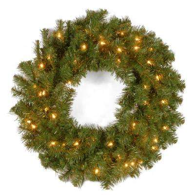 24 in. Kincaid Spruce Artificial Christmas Wreath with Clear Lights