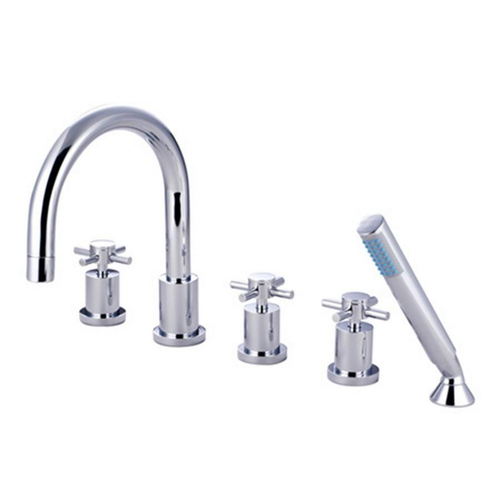 Kingston Brass 3-Handle Deck-Mount Roman Tub Faucet with Hand Shower ...