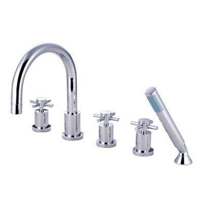 3-Handle Deck-Mount Roman Tub Faucet with Hand Shower in Chrome
