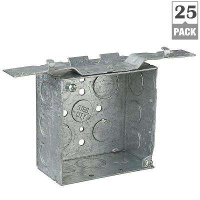 2-Gang 4 in. New Work Metallic Square Electrical Box with CV Bracket (Case of 25)