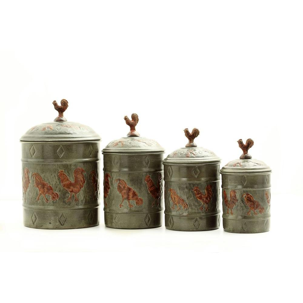 Old Dutch Rooster Canister Set with Fresh Seal Covers (4-Piece)