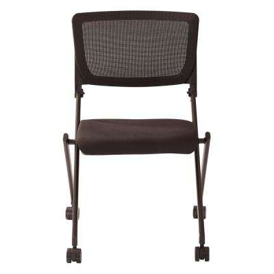 Black Mesh with Black Frame and Black Icon Fabric Seat Nesting Chair (2-Pack)