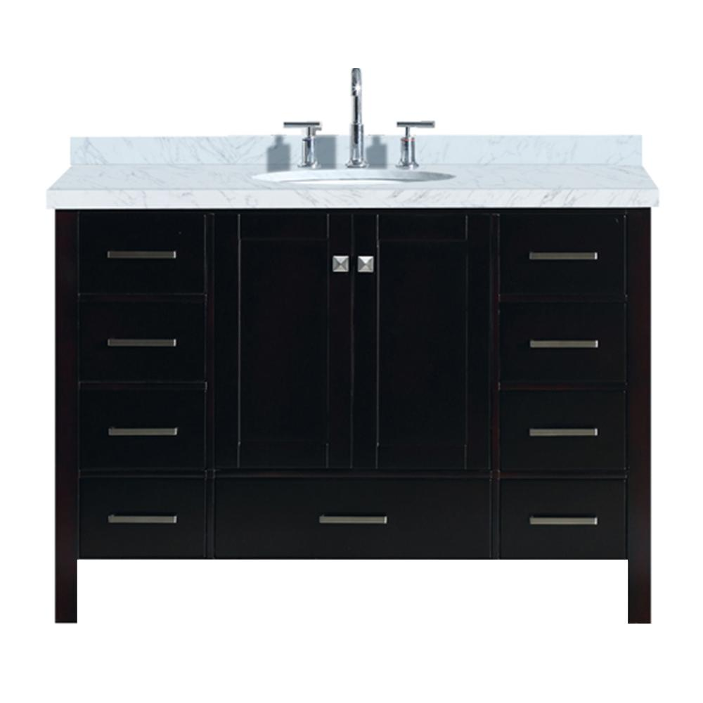 Ariel Cambridge 49 in. Bath Vanity in Espresso with Marble Vanity Top in Carrara White with White Basin