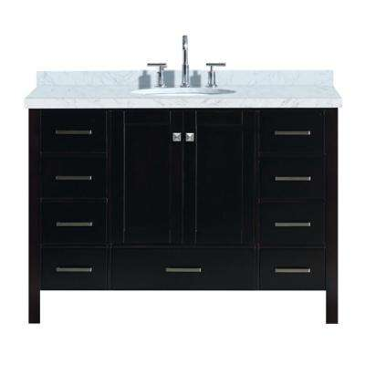Cambridge 49 in. Bath Vanity in Espresso with Marble Vanity Top in Carrara White with White Basin