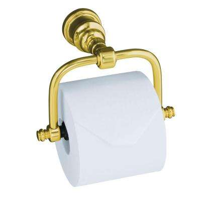 IV Georges Horizontal Wall-Mount Single Post Toilet Paper Holder in Vibrant Polished Brass