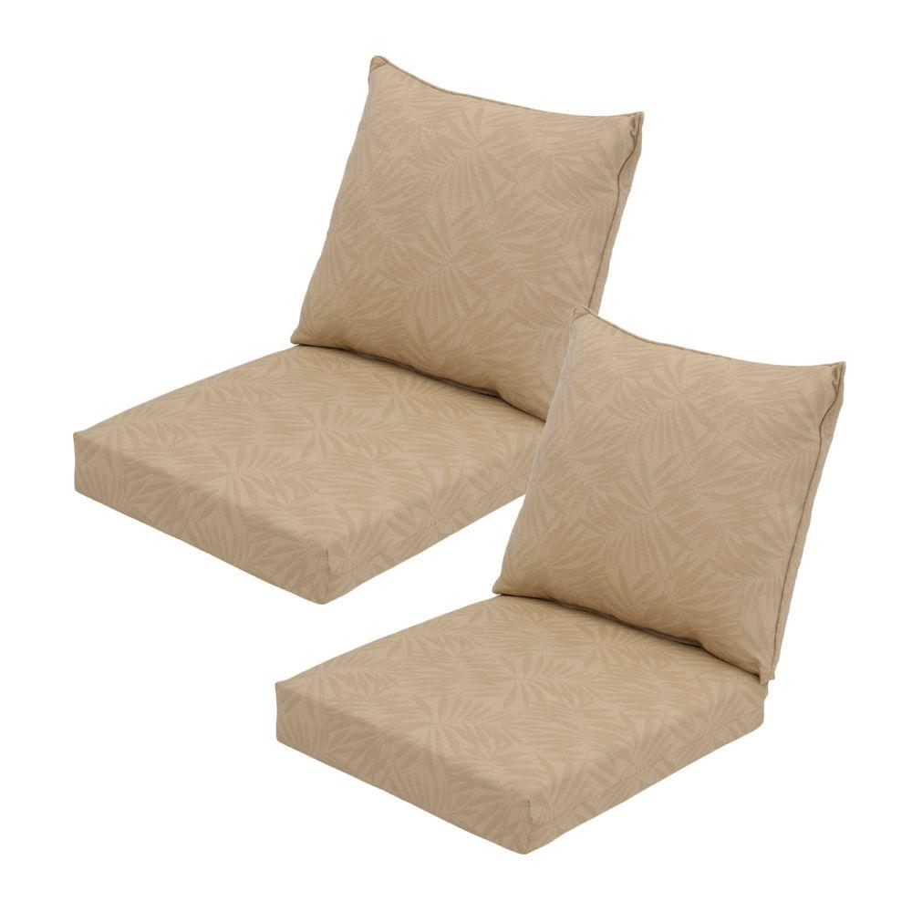 Hampton Bay Roux Palm Pillow Back Outdoor Deep Seating Cushion (2-Pack)
