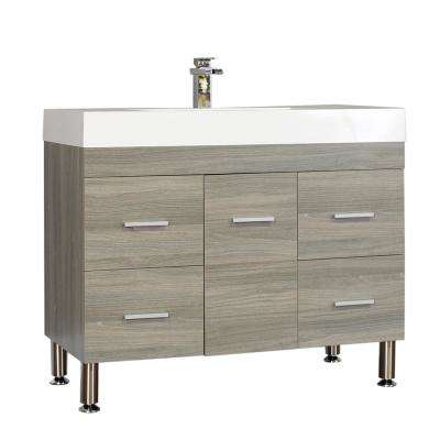 The Modern 39.25 in. W x 18.75 in. D Bath Vanity in Gray with Acrylic Vanity Top in White with White Basin