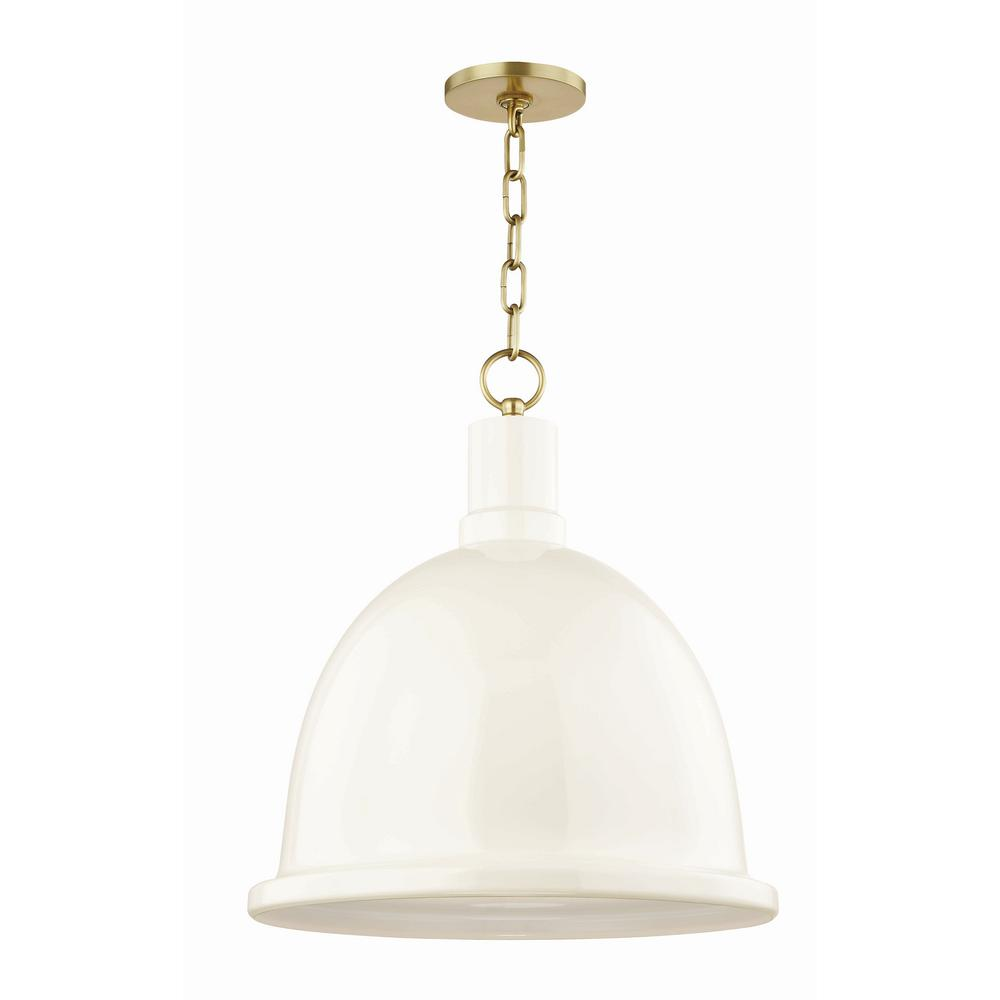 Mitzi by Hudson Valley Lighting Blair 1-Light 16 in. W Aged Brass Pendant with