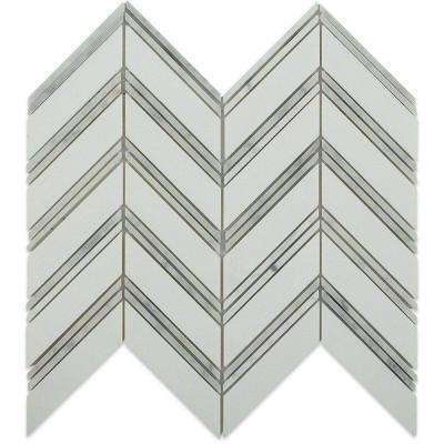 Royal Herringbone White Thassos and White Carrera Strips Polished Marble Tile - 3 in. x 6 in. Tile Sample
