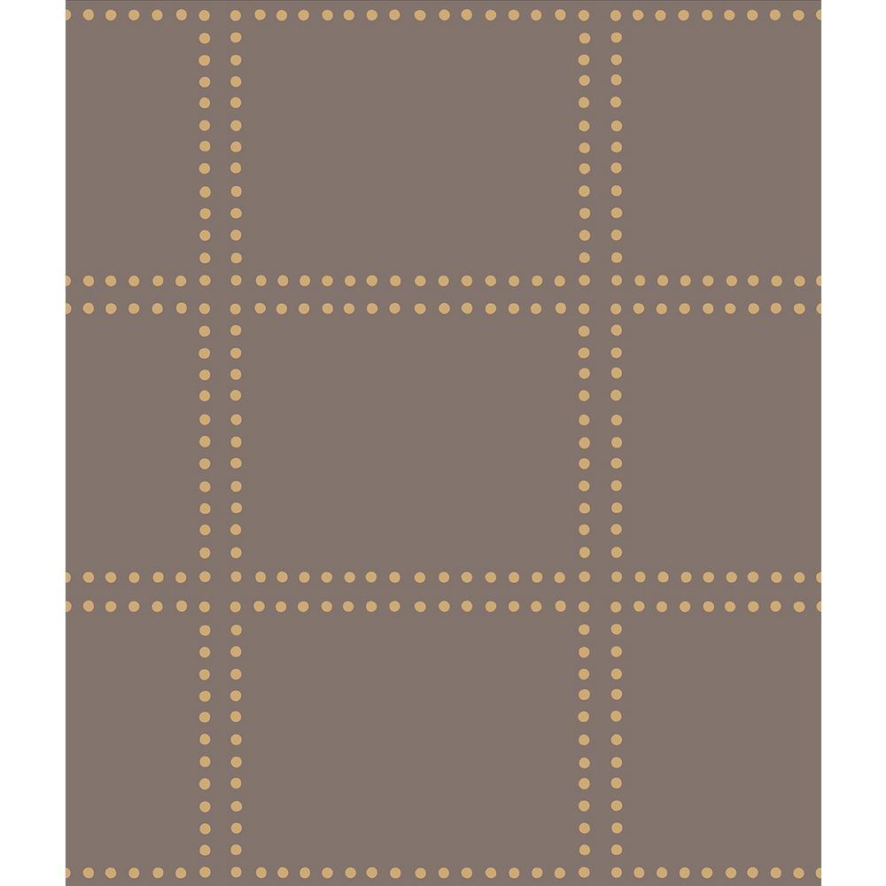 Gridlock Brown Geometric Wallpaper Sample