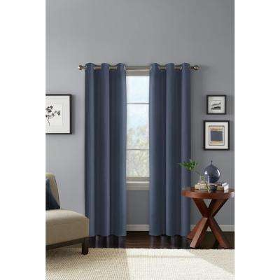 "100% Blackout Carson Blue Grommet Curain Panel 42"" W x 84"" L"