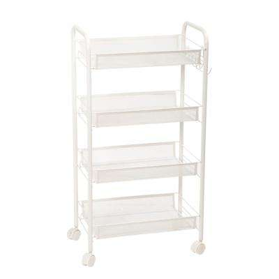 4-Tiers Iron Exquisite Honeycomb Net Storage Cart Rack Organizer Shelf in Ivory White