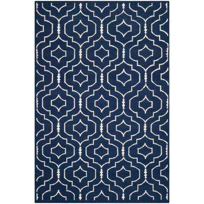 Dhurries Navy/Ivory 6 ft. x 9 ft. Area Rug