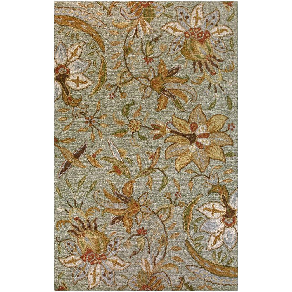 BASHIAN Valencia Collection Mona Light Green 8 ft. 6 in. x 11 ft. 6 in. Area Rug