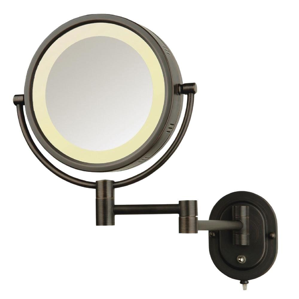 See All 8 In X Round Lighted Wall Mounted 5x Magnification Makeup Mirror Bronze
