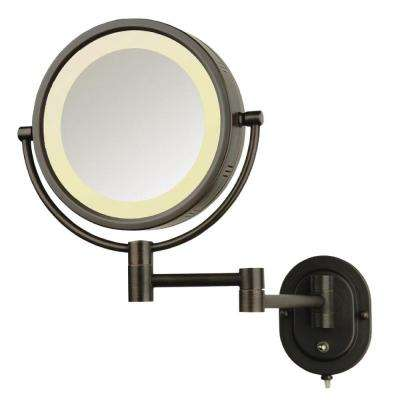 8 in. x 8 in. Round Lighted Wall Mounted 5X Magnification Make Up Mirror in Bronze