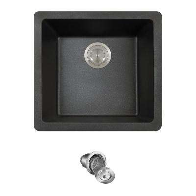 All-in-One Dualmount Granite Composite 18 in. Single Bowl Kitchen Sink in Black