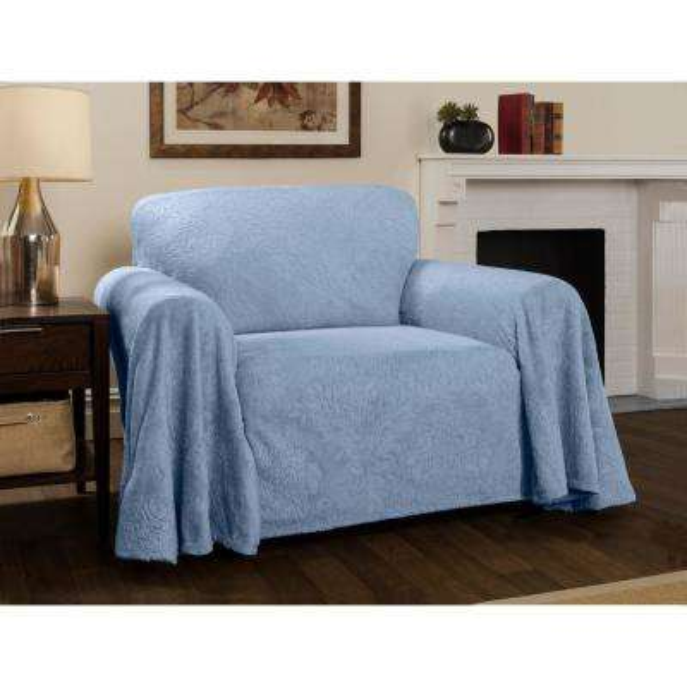 Plush Damask Slipcover Blue Throw Chair