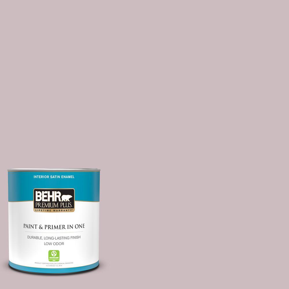 Behr Premium Plus 1 Qt 100e 3 Pastel Violet Satin Enamel Low Odor Interior Paint And Primer In One 740004 The Home Depot