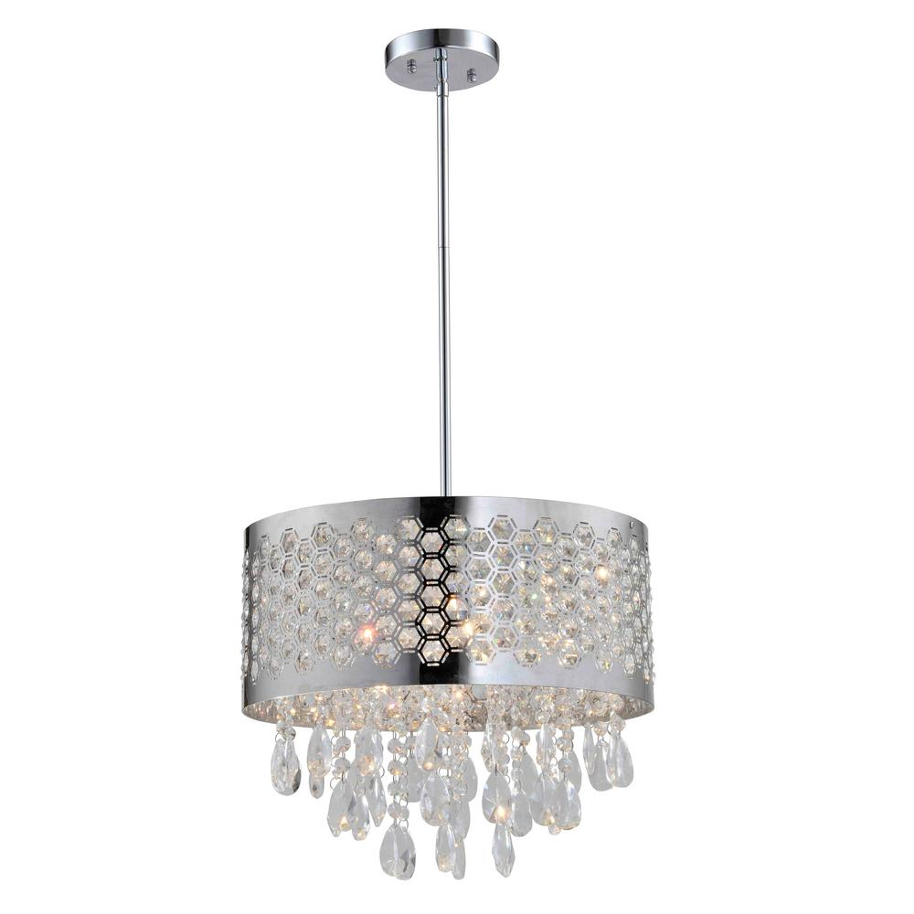 Artiva Catalyn 4 Light Crystal Chandelier With Chrome Shade