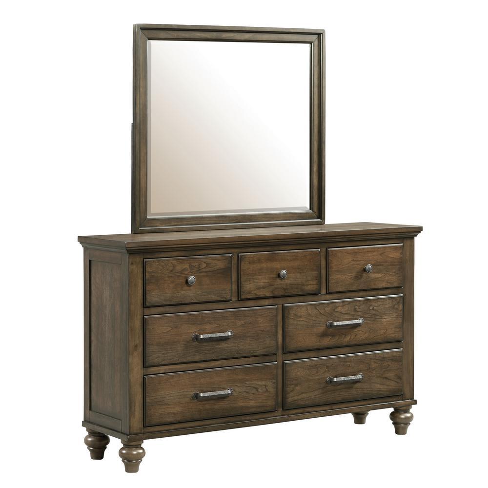 Channing 7-Drawer Dark Walnut Dresser with Mirror