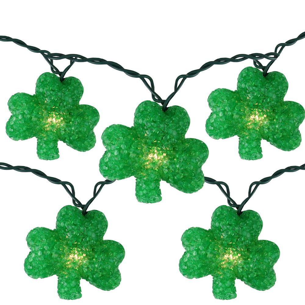Northlight Set Of 10 Clear Incandescent Light St Patrick S Day Irish Shamrock Holiday Lights With Green Wire