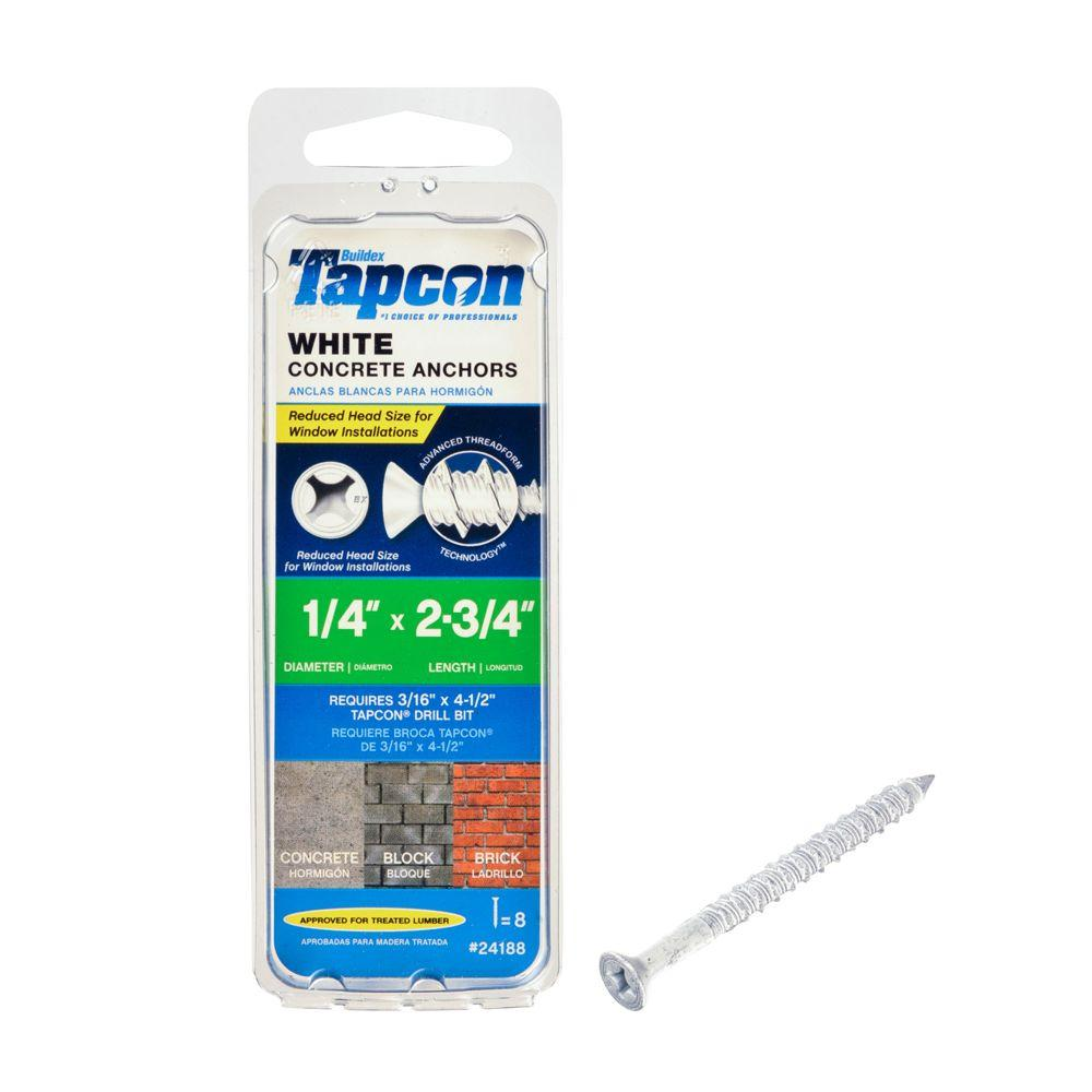 Tapcon 1/4 in. x 2-3/4 in. White Ultrashield Phillips Flat-Head Concrete Anchors (8-Pack)