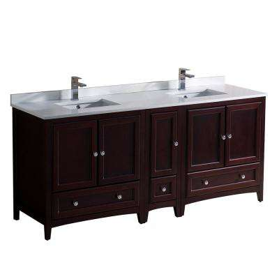 Oxford 72 in. Double Vanity in Mahogany with Quartz Stone Vanity Top in White with White Basins with Side Cabinet