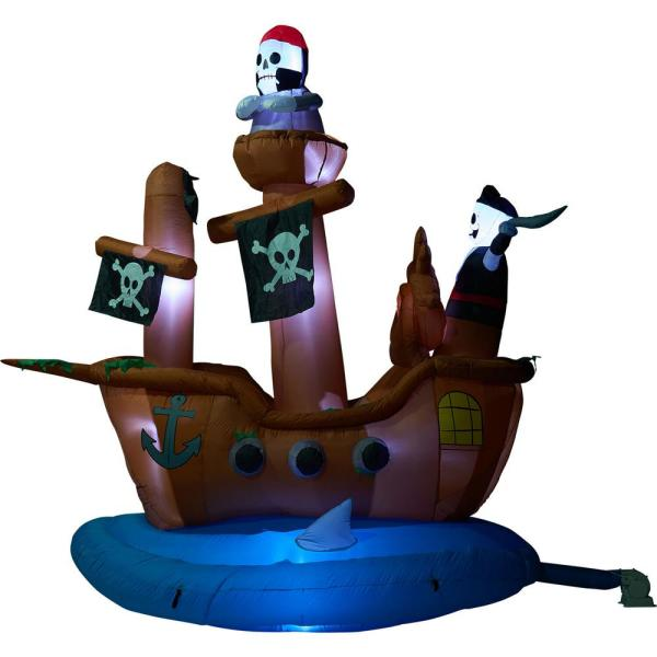 10 ft. Pirate Ship Halloween Inflatable with Lights