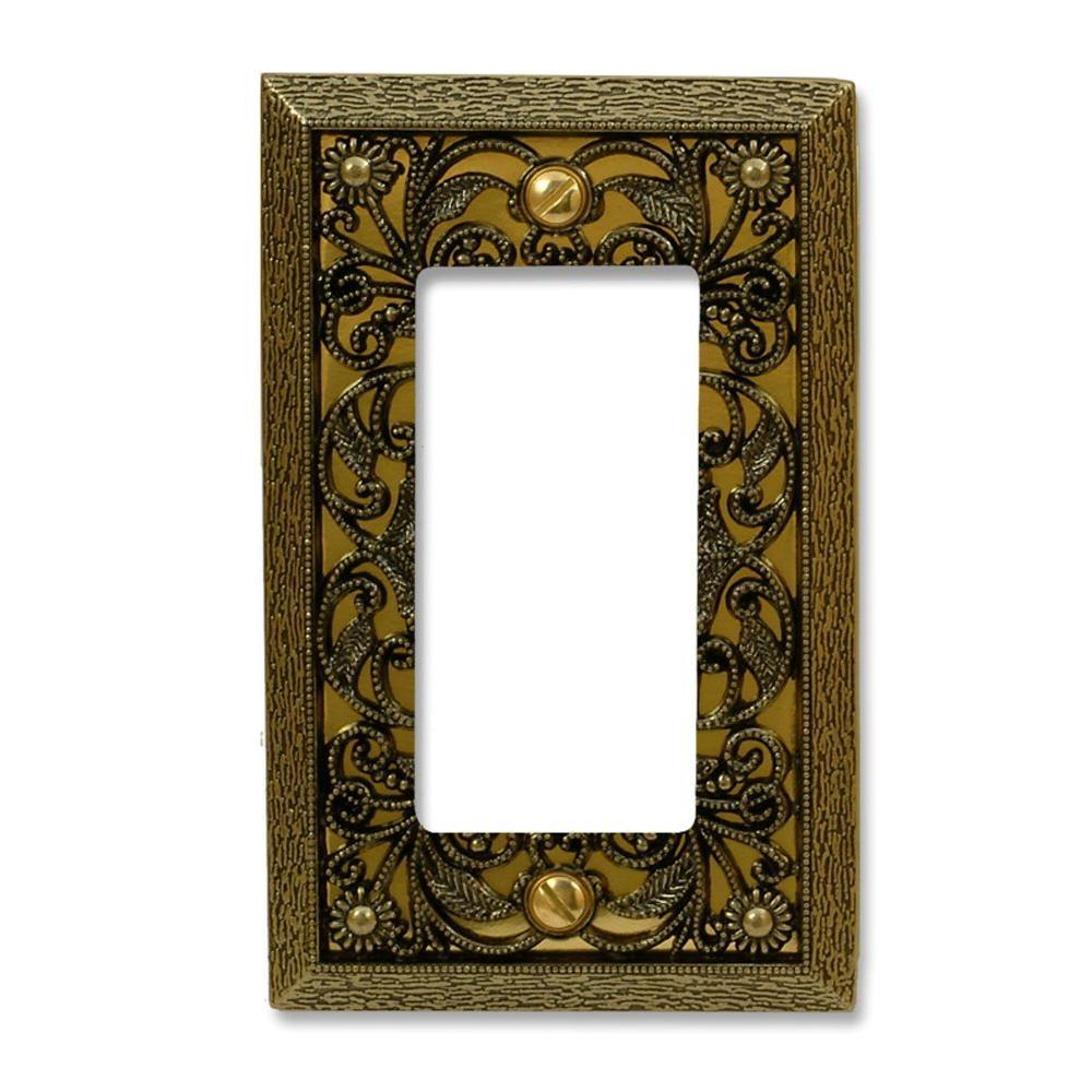filigree 1 decora wall plate antique brass