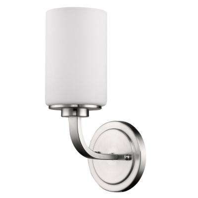 Addison 1-Light Satin Nickel Sconce with Etched Glass Shade