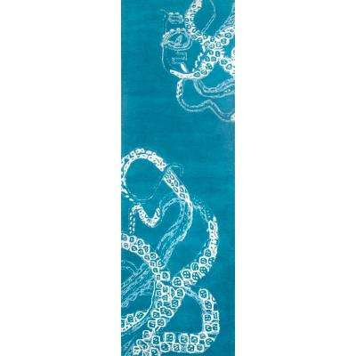 Octopus Tail Blue Waters 3 ft. x 8 ft. Runner Rug