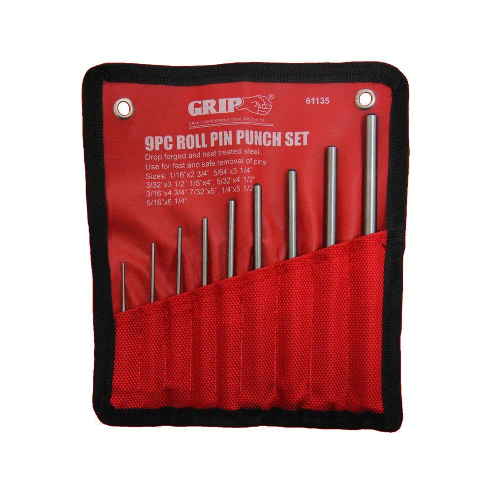 Hand Pin Remover Tool for 9-piece Roll Pin Punch Set and 1 Double faced mallet