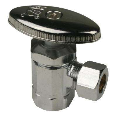5/8 in. I.D. X 1/2 in. O.D. Angle Chrome Supply Stop Multi-Turn Valve
