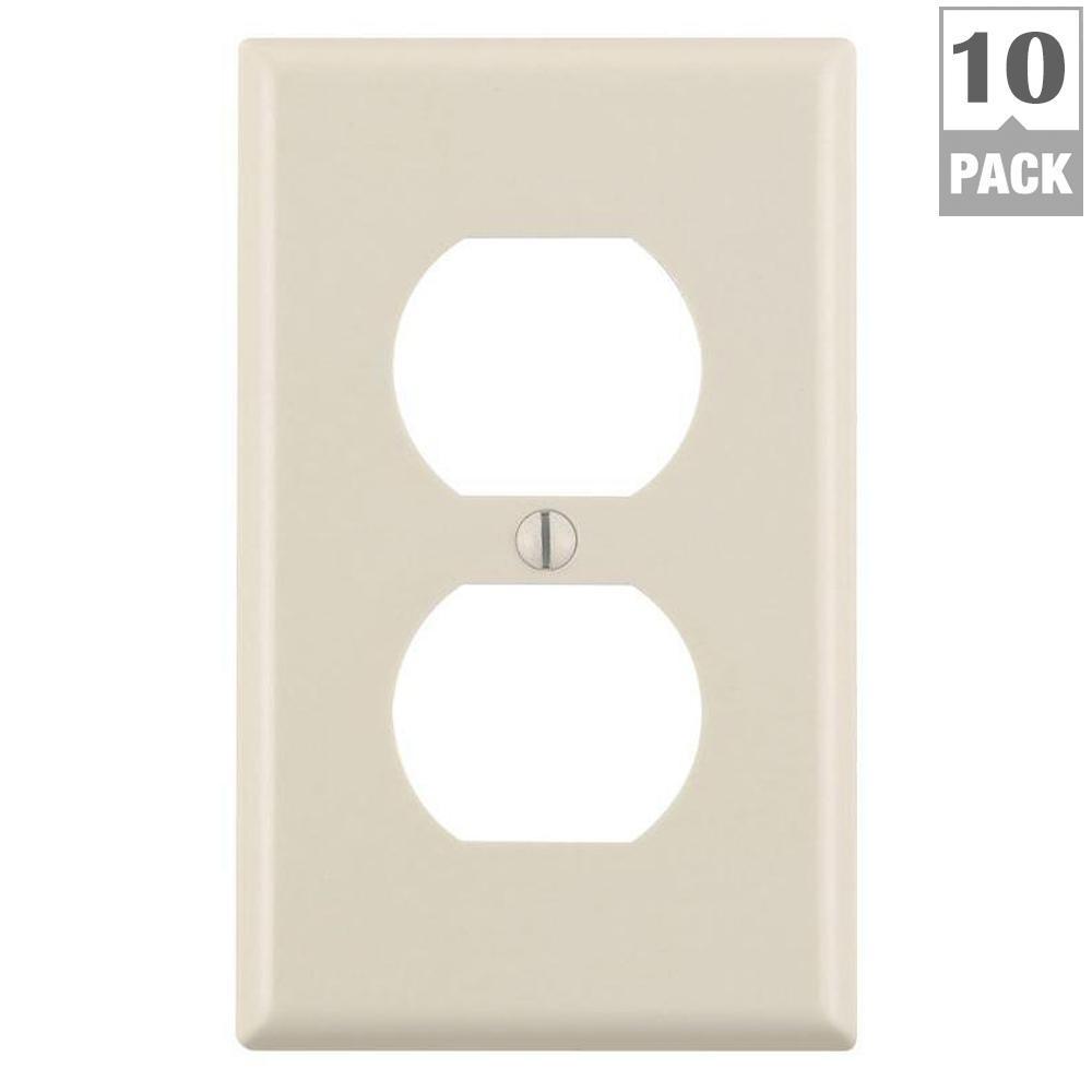 1-Gang Duplex Outlet Wall Plate, Light Almond (10-Pack)