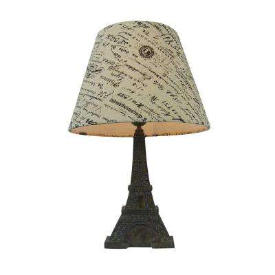 16 in. Brown Slate Eiffel Tower Lamp with French Script Writing Printed Wheat Fabric Paris Shade