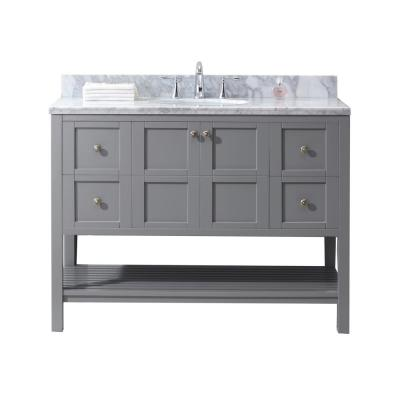 Virtu USA Winterfell 48 in. W Single Bath Vanity in Grey with Marble Vanity Top and Round Basin with Faucet