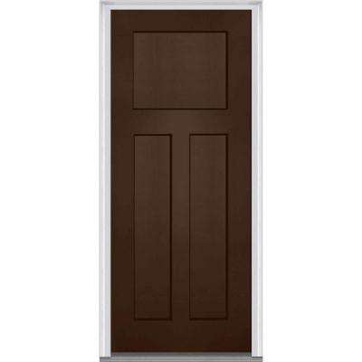 36 in. x 80 in. Left-Hand Inswing Craftsman 3-Panel Shaker Classic Painted Fiberglass Smooth Prehung Front Door