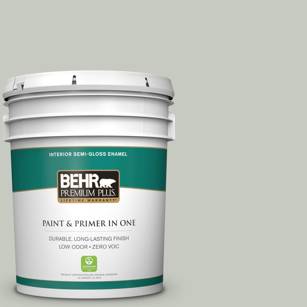 BEHR Premium Plus 5-gal. #PPL-80 Dynasty Celadon Zero VOC Semi-Gloss Enamel Interior Paint
