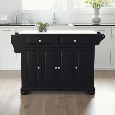 Alexandria Black Full Size Kitchen Island/Cart with Granite Top