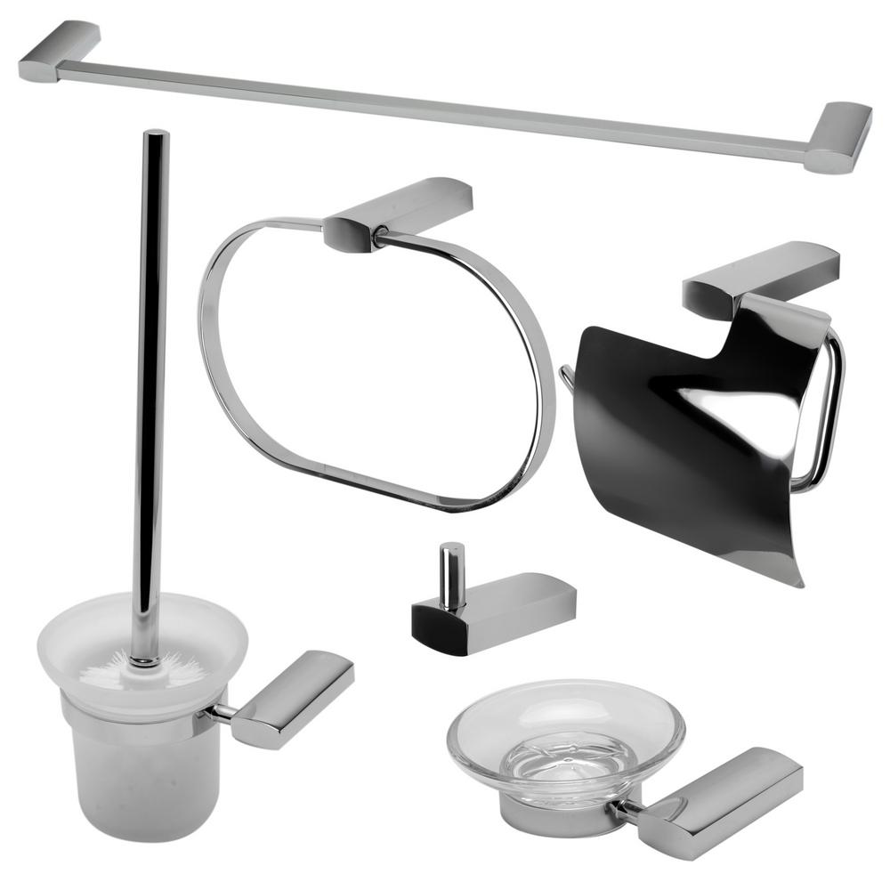 Alfi brand 6 piece bath hardware set in polished chrome ab9503 pc the home depot for Home depot bathroom accessories